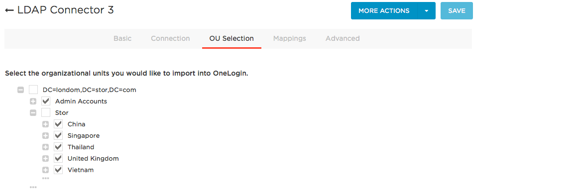 OU Selection tab