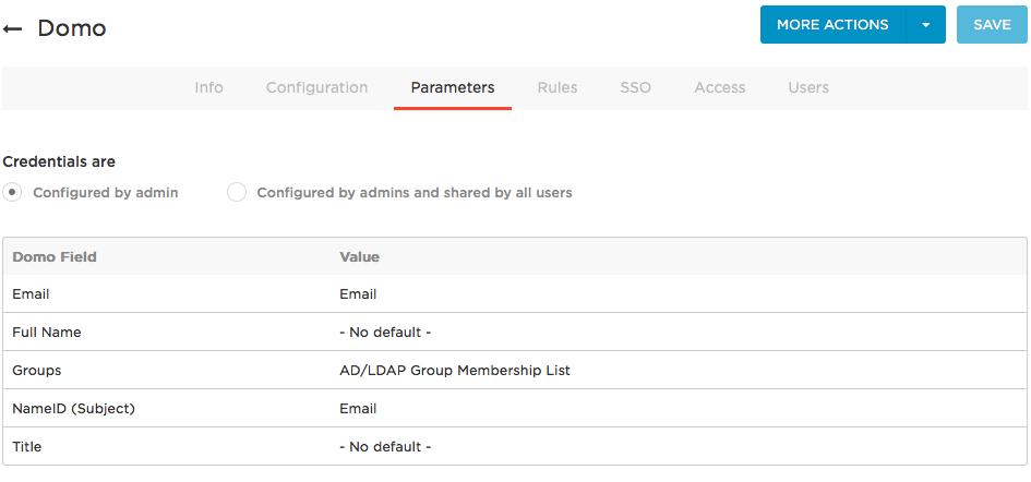 Domo Parameters tab