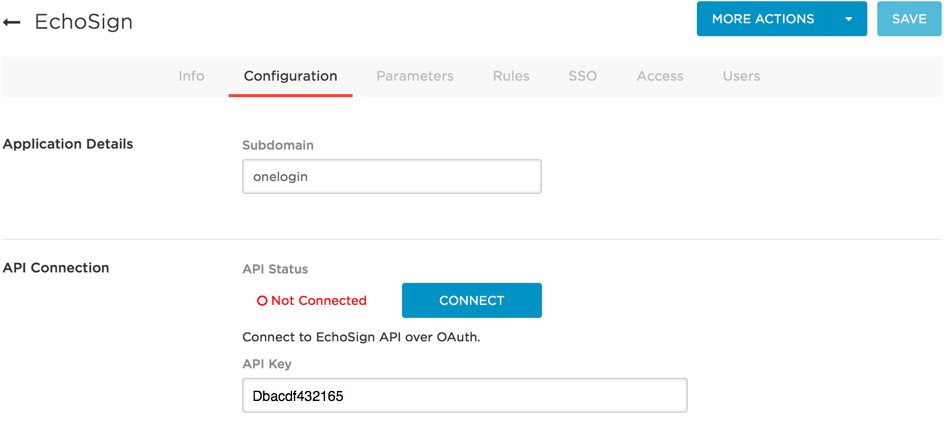 EchoSign Configuration tab