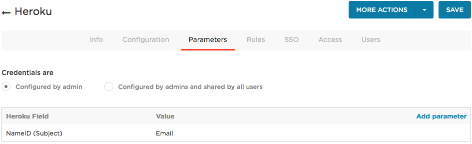 Heroku Parameters tab