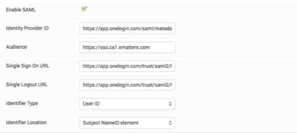 EchoSign <strong>SAML Configuration</strong> tab