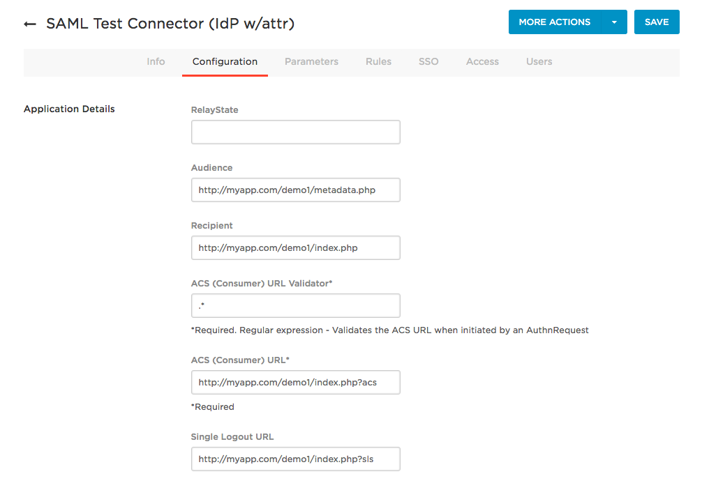 SAML Test Connector Configuration tab